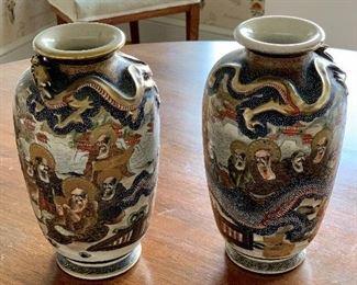 """$300 - Pair of satsuma vases; 8.5"""" H x 4"""" W"""
