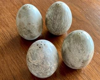"$24 - Set of 4 stone egg salt and pepper shakers; 2.5"" H"