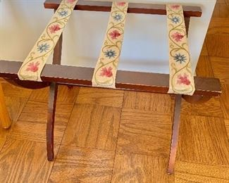 "$30 - Luggage rack with flowers; 22"" W x 16.5"" D x 18"" H"