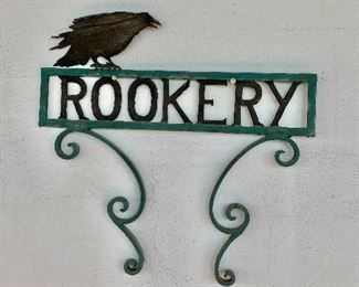 "$75 - Vintage, metal rookery sign; 18"" H x 19"" W"