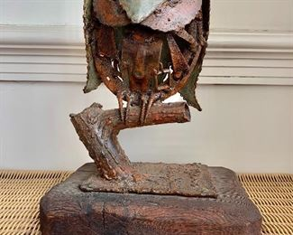 "$175 - Mid Century brutalist welded sculpture of an owl on perch on wooden plinth, signed; 12"" H x 19"" W x 7"" D"