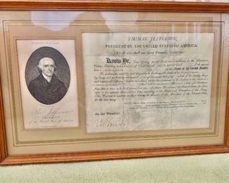 "$3,000 - framed engraving and document signed by Thomas Jefferson dated June 20, 1806; overall fair condition, faded due to exposure to heat and light; 11.5"" H x 18.5"" W; appraisal available"