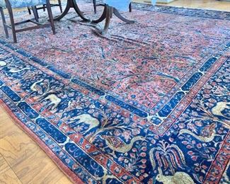 "$4,500 - Hand made Sarouk rug - ""The Tree of Life"" - 11'5"" x 15'9"" - light wear consistent with use and age"