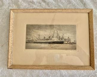 """$140 - Vintage framed etching - 12"""" x 8.5"""""""