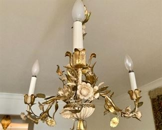 "$395 - Vintage three-light metal chandelier painted white and gold; 20.5"" total height x 16"" W.  NOTE: A separate charge of $40 will be applied for an electrician to remove the fixture."