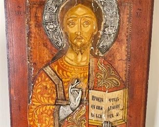 "$300 - Russian hand-painted icon on wood with raised silver riza and raised silver hand - 15"" H x 12.5"" W"