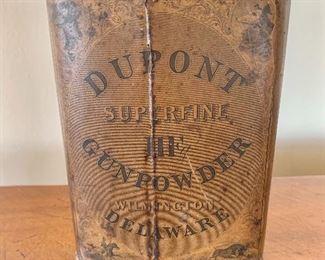 """$195 - Antique Dupont metal advertising tin - 5.5"""" H x 4.5"""" W x 1.5"""" D"""