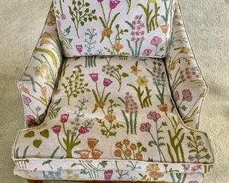 "$350 - Floral crewel upholstery club chair with feather filled cushions ; 29"" H x 30"" W x 39"" D, seat height is approx 15"""