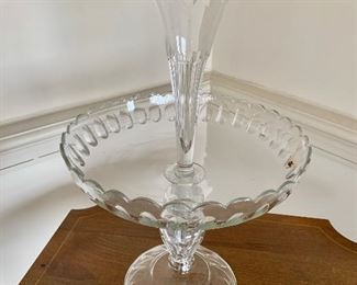 "$150 - Two-piece epergne; 16.5"" H x 10"" diameter - small chip on top flute"