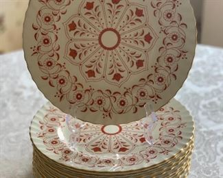 "$360 - Royal Crown Derby ""Rougemont"" Dinner Plate; Set of 12;  10.5 inches"