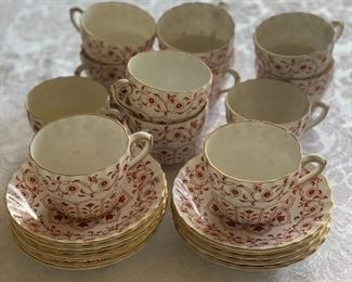 "$220 - Royal Crown Derby ""Rougemont"" cups and saucers; set of 11"