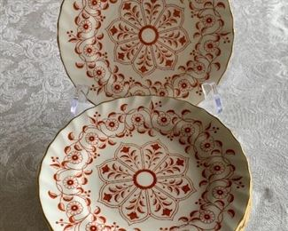 "$180 - Royal Crown Derby ""Rougemont"" Bread and Butter Plates  Set of 12; 6.5"" diameter;"