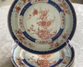 """$150; Vista Allegre (Portugal) Imari design Dinner Plates; 10"""" diameter; set of 6"""