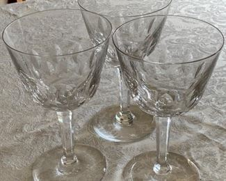 $30 - Set of 3 cut crystal wine stems ; 6.5 inches (H)