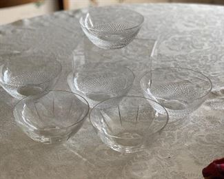 "$50 - Set of six (6) Orrefors crystal bowls; two patterns; 4.75"" diameter"