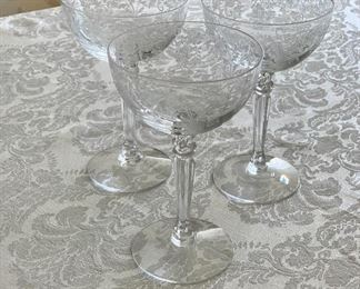 "$140 - Set of 14 - Vintage Fostoria ""Buttercup"" champagne glasses; 5.5"" (H)"