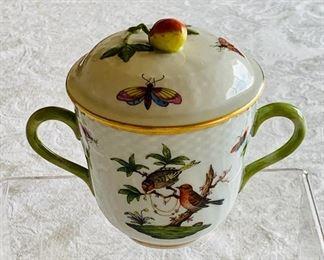 "$125 - vintage Herend ""Rothschild Bird"" lidded jelly/jam jar with handles"