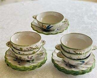 $95 - Hand painted ceramic soup bowls and saucers; set of 7