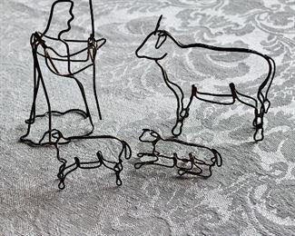 $24 - Silver tone sculpted partial nativity scene