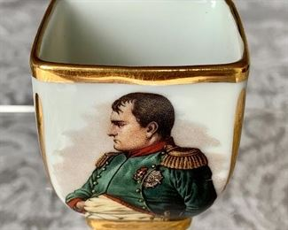 "$40 - Miniature Limoges porcelain trinket bowl with hand painted image of Napoleon; approx 2"" (H)"