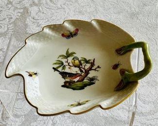 "$60 - Herend ""Rothschild Bird"" leaf trinket dish with handle; 6"" (L) x 4.5"" (W)"
