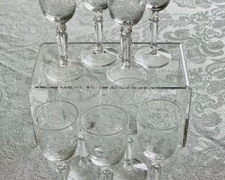 "$54 - Set of 9 Fostoria ""Buttercup"" cordial glasses"