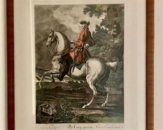 "$60 - Framed engraving of 18th c. figure on horseback - 16.5"" H x 12.5"" W"