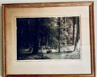 "$295 - Vintage framed lithograph by Stow Wengenroth (American 1906-1978); ""Forest Shade"", Edition 75, pencil signed.  Framed 11.5"" x 17"""