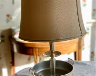 "$125 - Lamp with jardinere base; 24"" total height with 12"" diameter shade"