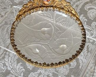 "$100 -  Round frosted trinket dish with painted porcelain and ormolu trim.  4"" diameter, 3"" (H)"