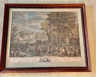 "$400 - Jean  Pierre Le Bas ""Fete Champetre after Teniers"" hand colored engraving; 35"" (W) x 28""(H) framed"