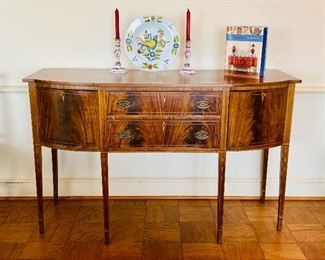 "$795 - Federal style sideboard with two panel drawers, tapered legs and inlay escutcheons - 38.5"" H x 61"" W x 23"" D"