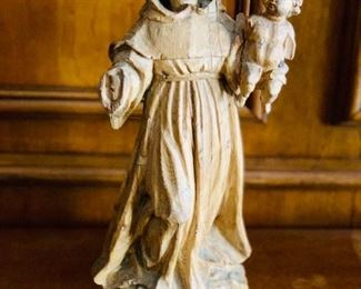 "$250 - Wooden carving of St. Francis; 18th century; 17"" H x 6"" W"