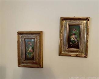 2 Vintage Gold Framed Prints