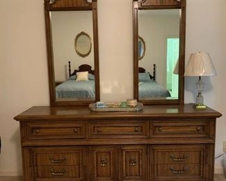 9 Drawer Dresser with Double Mirror