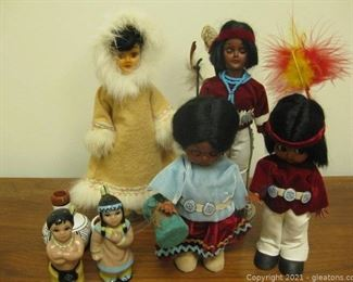 6 pc Native American Doll Figure Set