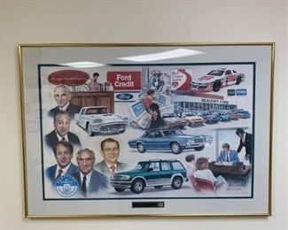 50 Years with Beaudry Ford print includes pictures of Henry Ford and his descendants on the left