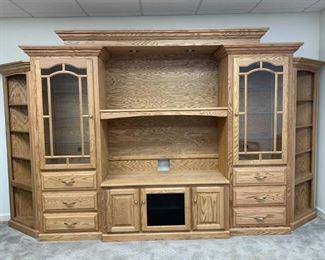 Amish Custom Made Solid Oak Wall Unit