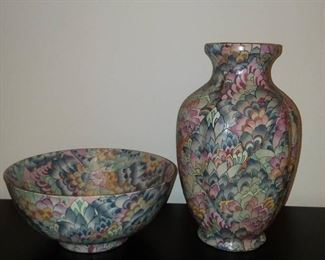 Beautiful Floral Embossed Andrea by Sadek Matching Bowl and Vase