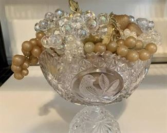 Crystal Footed Bowl with Fruit
