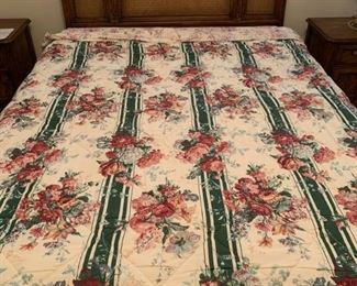 Drexel Carved Flowers and Wicker Full Queen Bed Mattress and Box Springs Included