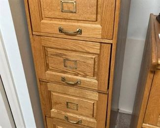 Golden Oak 4 Drawer File Cabinet