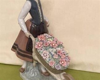 Lladro Porcelain Figurine Girl Pushing Wheelbarrow Full of Flowers