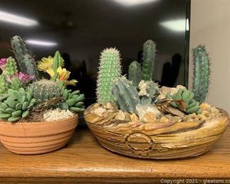 Lush Set of Two Faux Succulents and Cactus Terrariums
