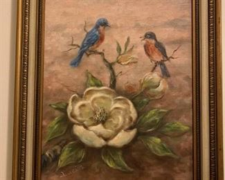 Magnolia and Birds Painting