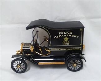 Pristine Franklin Mint Ford Model T Police Wagon Accented in 24 Carat Gold