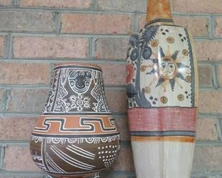 Two Beautiful Mexican Vases with Intricate Designs