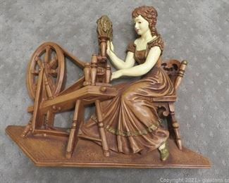 Victorian Plaster Girl at a Spinning Wheel Plaque