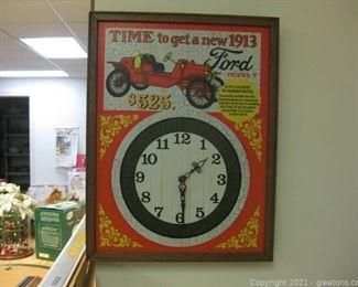 Vintage Ford Wall Clock Retro Advertisement 1913 Model T