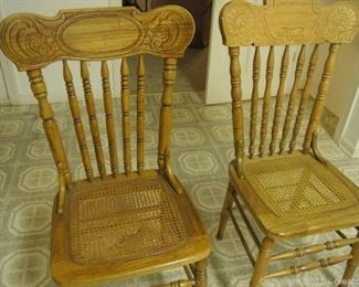 Wood and Carved Dining Chairs with Cained Seats